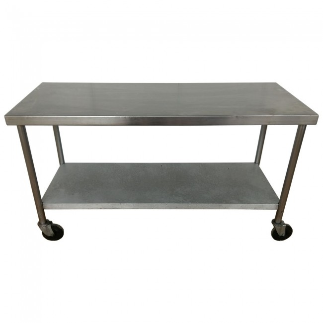 used stainless steel table and shelf unit on wheels. Black Bedroom Furniture Sets. Home Design Ideas