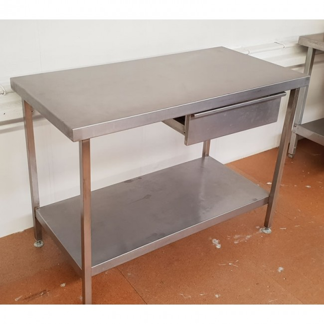 used stainless steel table with draw. Black Bedroom Furniture Sets. Home Design Ideas