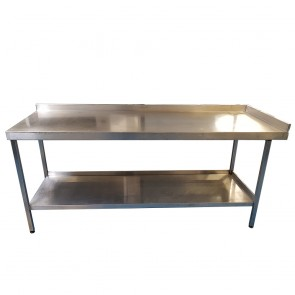 200CM STAINLESS STEEL TABLE WITH BOTTOM SHELF