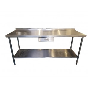 195CM STAINLESS STEEL TABLE WITH BOTTOM SHELF AND UNDERCOUNTER DRAW