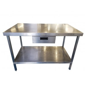 120CM STAINLESS STEEL TABLE WITH BOTTOM SHELF AND UNDERCOUNTER DRAW