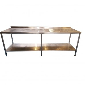 240CM Stainless Steel Table With Bottom Shelf