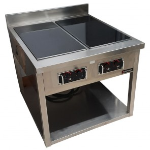 Used Cooktek 4 Induction Hobs with Stainless Steel Table