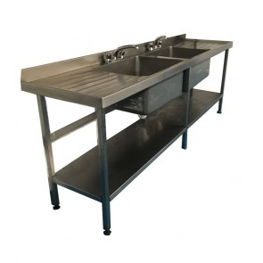 Used Large twin base stainless steel sink