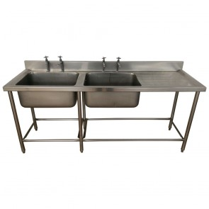Used stainless steel twin basin commercial sink