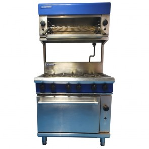 Blue Seal 6 Burner Oven with overhead Blue Seal Salamander Grill