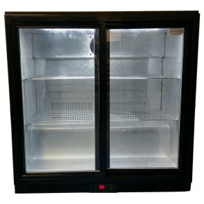 Used Cater Cool CK0502LED Double Sliding Door Bottle Cooler with LED Lighting