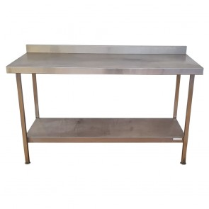 Used Stainless Steel Table with Bottom Shelf and Upstand 150cm