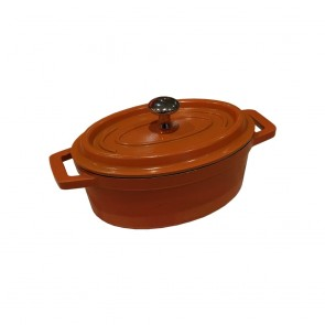 Used Cast Iron Mini Oval Casserole Pot/Souffle Dish/Ramekins with Lid and Steel Knob