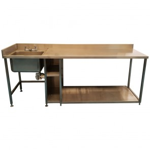 Used large stainless steel table with deep sink