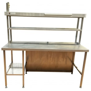 Used Stainless Steel Table with Overhead Heated Gantry