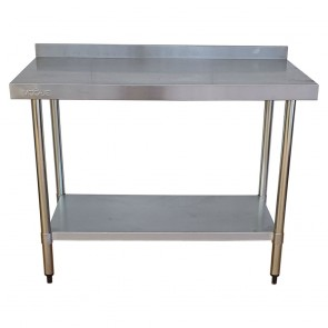 Used Stainless Steel Table with Bottom Shelf and Upstand 120cm