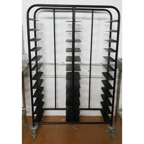 Used 24 Tray Black Self Clearing Trolley