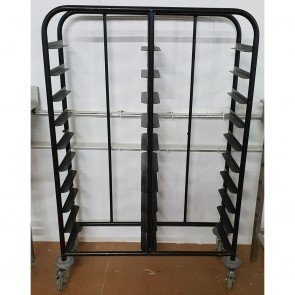 Used 20 Tray Black Self Clearing Trolley
