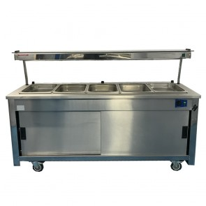 Used bain-marie hot cubard and over head gantry.