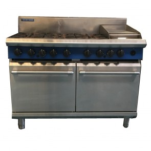 Used Blue Seal 6 Burner Oven with Griddle